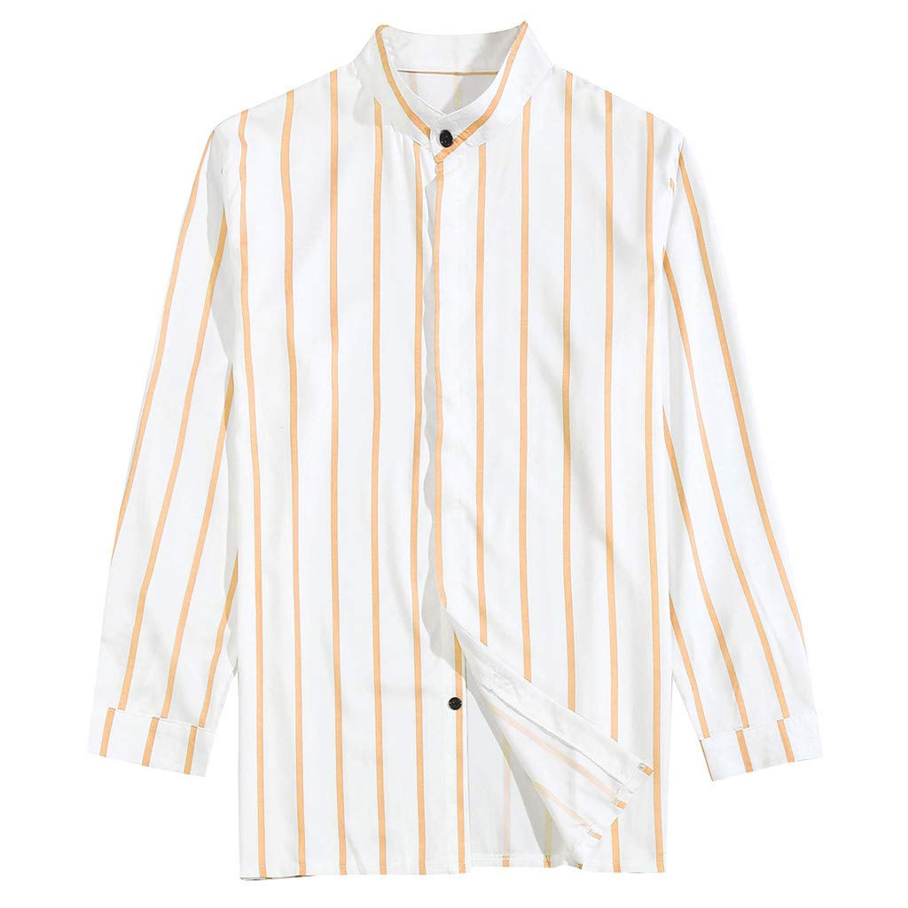 Eoeth Top Blouse for Men, Summer Casual Stitching Stripes Long Sleeve Shirts Tight Slim Fit Lapel Quick-Dry T-Shirt Tee Yellow