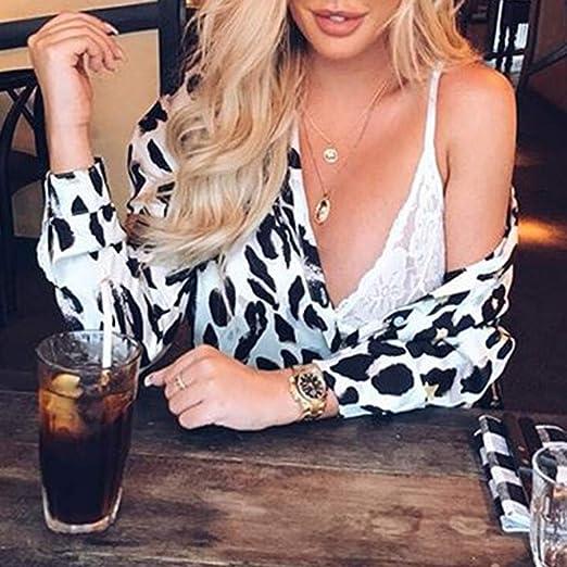 Yvelands Camisas Atractivas para Mujer Escote con Cuello en V Leopart Estampado Flare Manga Vendaje Party Club Tie Up Blusa: Amazon.es: Ropa y accesorios