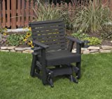 BLACK-POLY LUMBER ROLL BACK Poly Resin 2 FEET Patio Garden Traditional Glider with Cupholder arms Heavy Duty EVERLASTING - MADE IN USA - AMISH CRAFTED