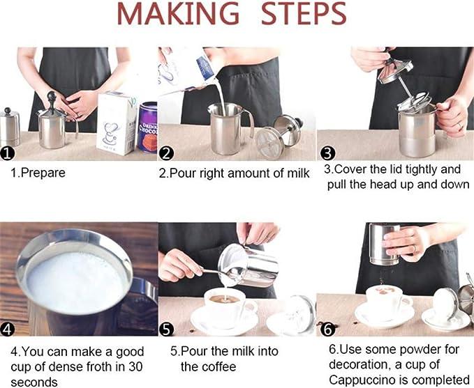 400ml DIYARTS Manual Leche Espumador Acero Inoxidable Espuma Mano Jarra Fabricante Espuma Caf/é Mano Doble Malla Crema Taza Fabricaci/ón