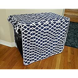 """Modern Blue Marine Dog Pet Wire Kennel Crate Cage House Cover (Small, Medium, Large, XL, XXL) (XL 42x28x31"""")"""