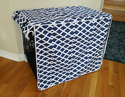 "Modern Blue Marine Dog Pet Wire Kennel Crate Cage House Cover (Small, Medium, Large, XL, XXL) (MEDIUM 30x21x24"")"