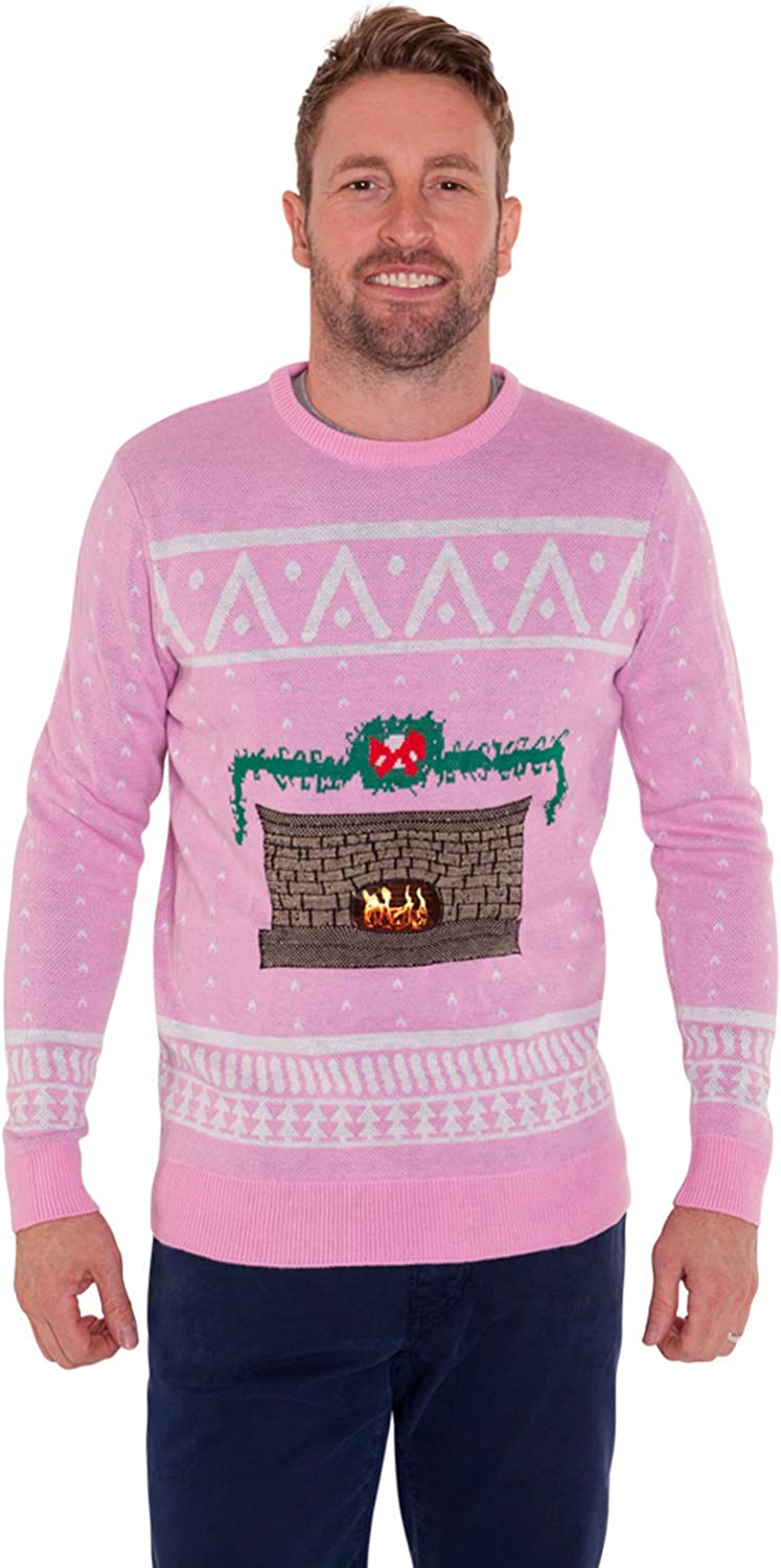 SALE Womens Digital Dudz Pink Fireplace Christmas Jumper Sweater Moving Images