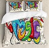 Ambesonne Music Duvet Cover Set King Size, Illustration of Graffiti Style Lettering Headphones Hip Hop Theme on Beige Bricks, Decorative 3 Piece Bedding Set with 2 Pillow Shams, Multicolor