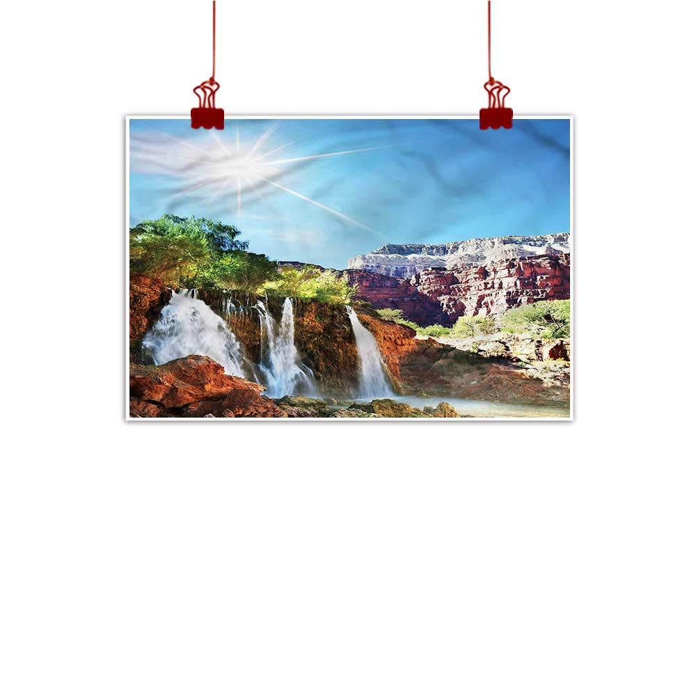 color08 48 x32  (120cm x 80cm) Mangooly Canvas Prints Boho Waterfall,Majestic Mother Earth Watercolor Painting Home Decor Prints Posters