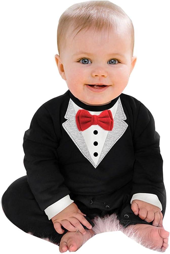 YOUJIA Baby Strampler Smoking f/ür Jungen Anzug Mit Fliege F/ür Kleinkinder 0-24 Monat S/ü/ßes Geschenk F/ür Eltern mit Babies