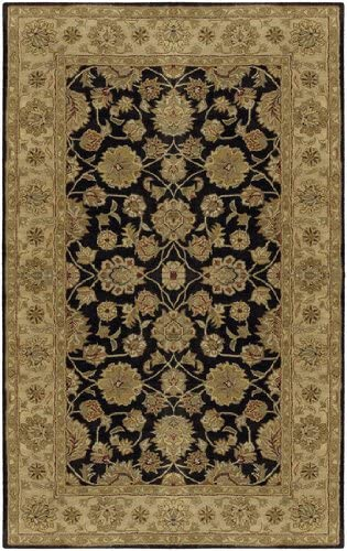 Diva At Home 5 x 8 Taman Rahsia Black, Brown and Red Clay Hand Tufted Wool Area Throw Rug