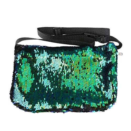 Waist Belt Production Pack - Maxtour Womens Mermaid Bling Fanny Pack/Sequin Cosmetic Waist Bag (Green Black)