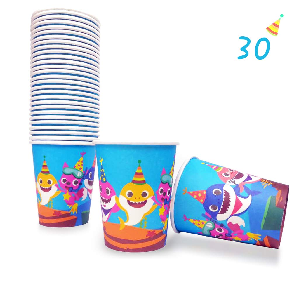 30 Baby Cute Shark Cups for Birthday Party Supplies, Disposable Paper 9oz Cup, Doo Doo Decorations by Valentina Buck