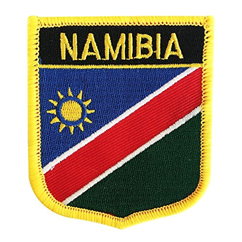 """Namibia Flag Emblem Badge Embroidered Patch Iron-On Sew-On for African rugby (Namibian Crest, 2.75"""" x 2.35"""")"""