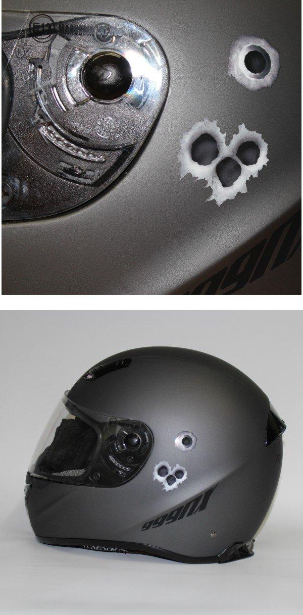 Einschuss-L/öcher Sticker Set I Bullet-Holes und Kratzer als Auto-Aufkleber f/ür Roller Moped Motorrad-Helm Laptop Smartphone I schwarz grau I kfz/_004