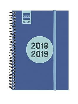 Finocam Espir Label - Agenda 2018-2019 semana vista apaisada catalán, 120 x 171 mm, azul cobalto