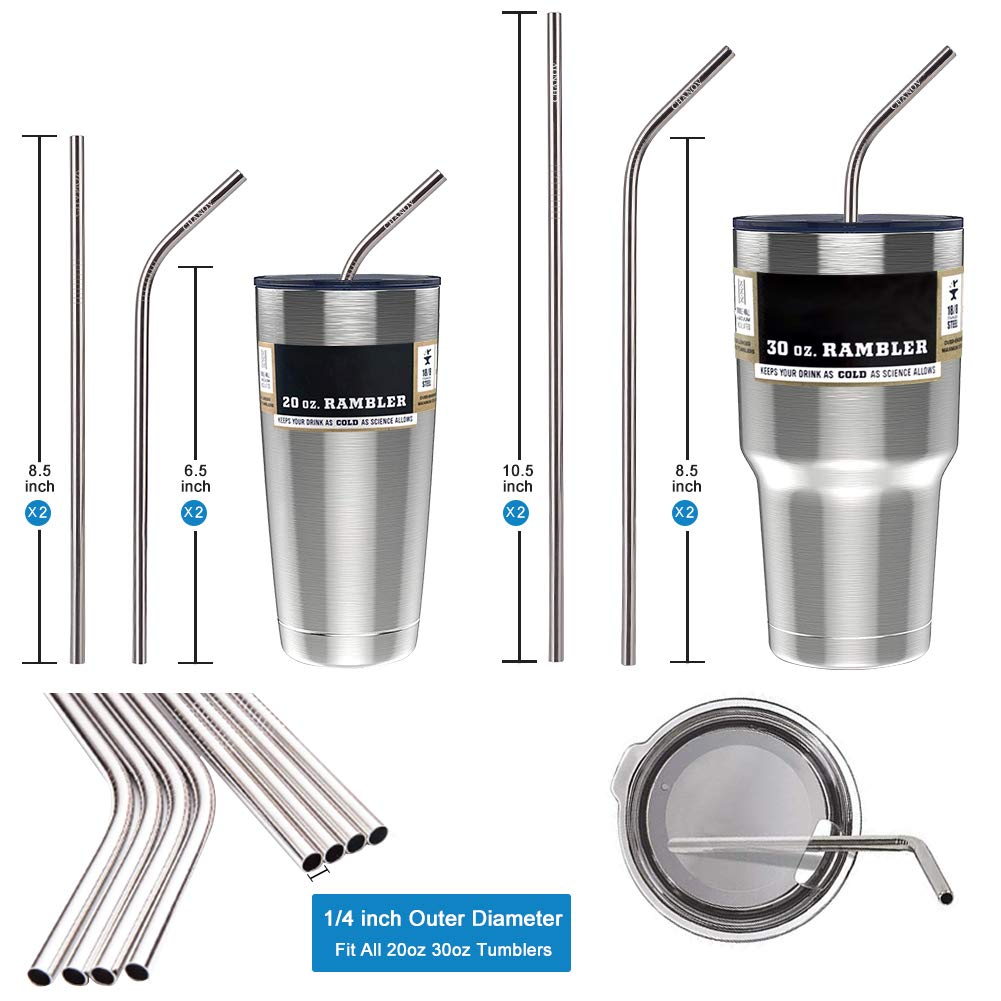 Set of 8 Stainless Steel Straws, Reusable Drinking Straws 10.5\'\' 8.5\'\' Long 0.24\'\' Diameter for 30 oz 20 oz Tumbler, 2 Cleaning Brushes Included (8 Metal Straws drinking reusable + 2 Cleaning Brushes)