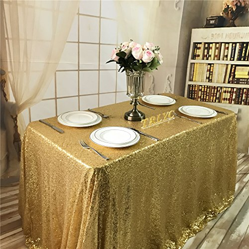 Trlyc 50X50 Inch Square Sequin Tablecloth For Wedding Happy New Year  Gold