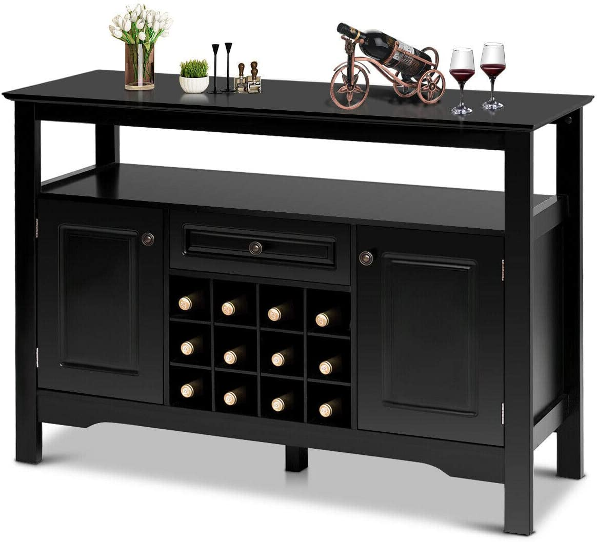Buffet Console Table Black Storage Cabinet Kitchen Dining Sideboard Display Case