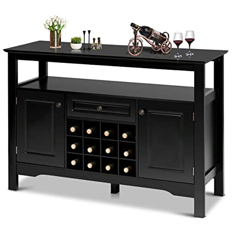 Giantex Buffet Server Wood Cabinet Sideboard Cupboard Table Kitchen Dining Room Restaurant Furniture Wine Cabinet With Wine Rack Open Shelf Drawer