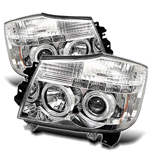 (Spyder Auto Nissan Titan/Nissan Armada Chrome Halogen LED Projector Headlight)