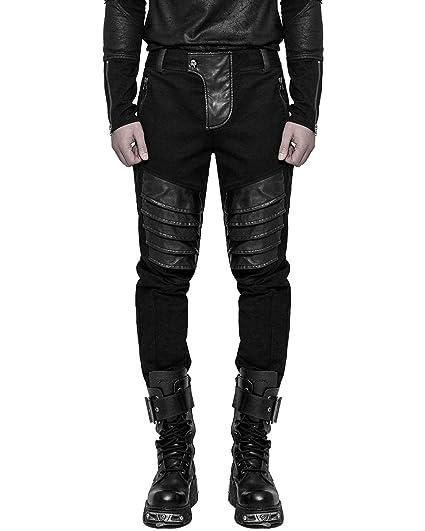 928fb43155 Punk Rave Mens Dieselpunk Armour Jeans Pants Black Gothic Biker Leather  Trousers: Amazon.co.uk: Clothing