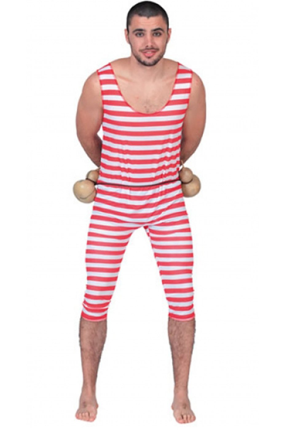 costume da bagno anni 20 uomo forzuto a righe rosse taglia xl
