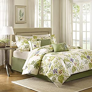 Madison Park Kannapali Queen Size Bed Comforter Set Bed in A Bag - Green, Ivory, Leaf, Flowers – 7 Pieces Bedding Sets – 100% Cotton Sateen Bedroom Comforters