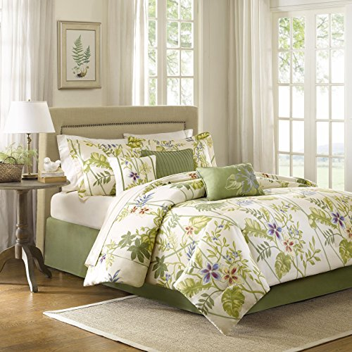Madison Park Kannapali Queen Size Bed Comforter Set Bed in A Bag - Green, Ivory, Leaf, Flowers - 7 Pieces Bedding Sets - 100% Cotton Sateen Bedroom Comforters (Floral Green Comforter)