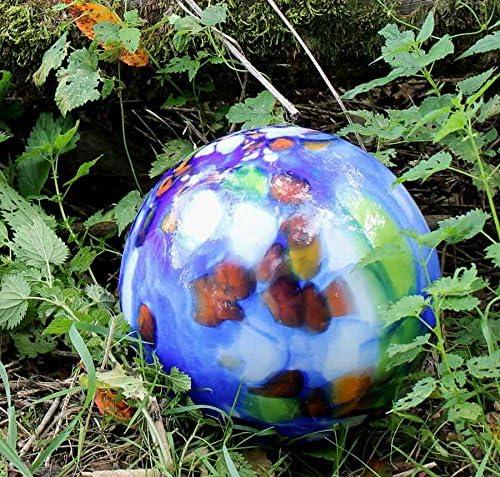 MP Glaszauber Edle Bodenkugel aus Glas mit Stab Flieder D 25 cm Handarbeit Gartenkugel