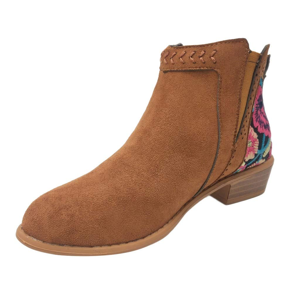 Ankle Boot Embroid Flower...