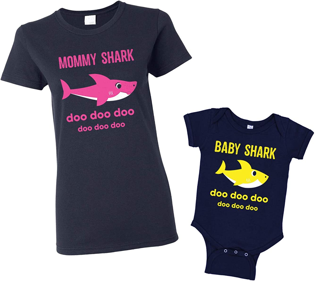 Mommy Shark & Baby Shark Women's T-Shirt & Infant Bodysuit Matching Set