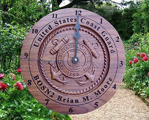 Coast Guard Wood Sign (Personalized Coast Guard Wall Clock Retirement gifts, for her the veteran, Custom 5th anniversary wood gifts for men, 3D carved wooden clock military service anniversary Engraved gift)