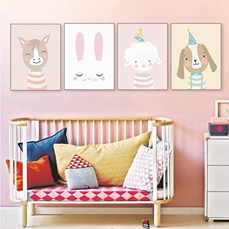 4er Set Kinderzimmer Babyzimmer Poster Bilder Din A4 | Mädchen Junge Deko |  Dekoration Kinderzimmer | Waldtiere Safari Skandinavisch 4er-f
