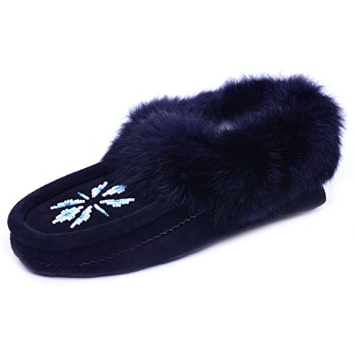 aa6ec5a0c Eucoz Suede Moccasin Women Slippers with Rabbit Fur Collar, Soft Sole, Cozy  Warm Fleece