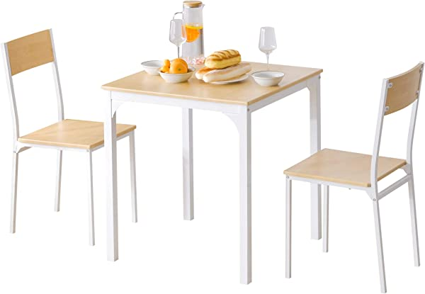 3 Piece Modern Counter Height Dining Table And Chairs Set Wooden Steel Frame Kitchen Dining Table Set