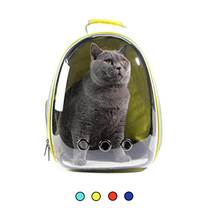 Amakunft Transparent Pet Travel Carrier, Breathable Cat Space Capsule Bag Innovative Puppies Portable Backpack for