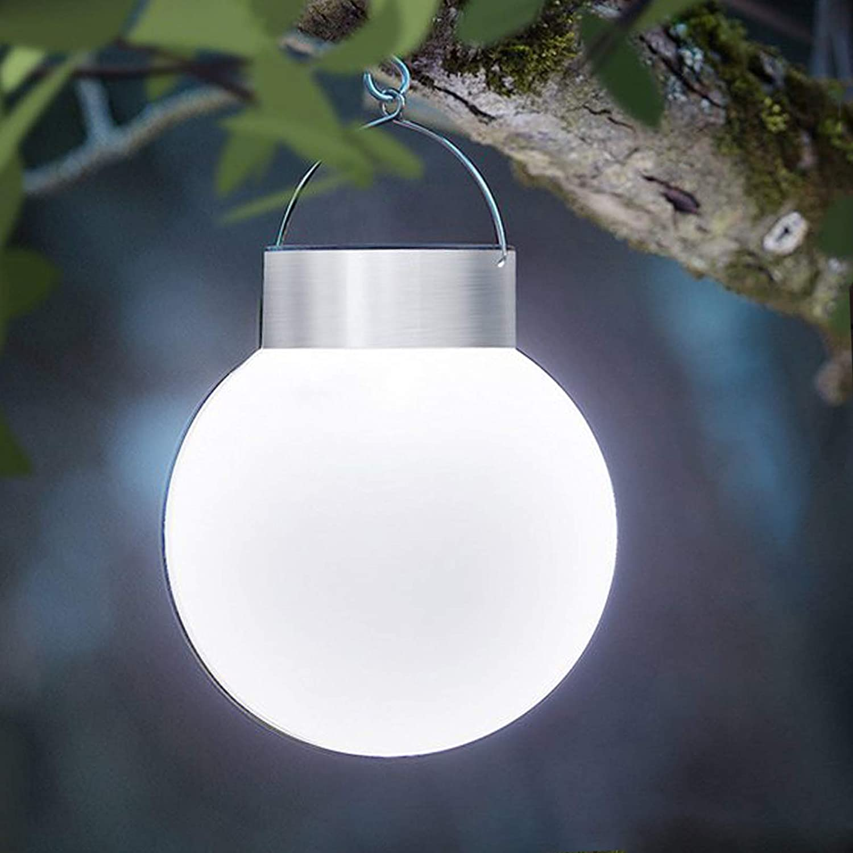 Solar-Kugel Solarleuchte DbKW 4er Set LED Solar-Leuchtkugeln Solar-Laterne /Ø 13cm Wei/ß/… H/ängeleuchte