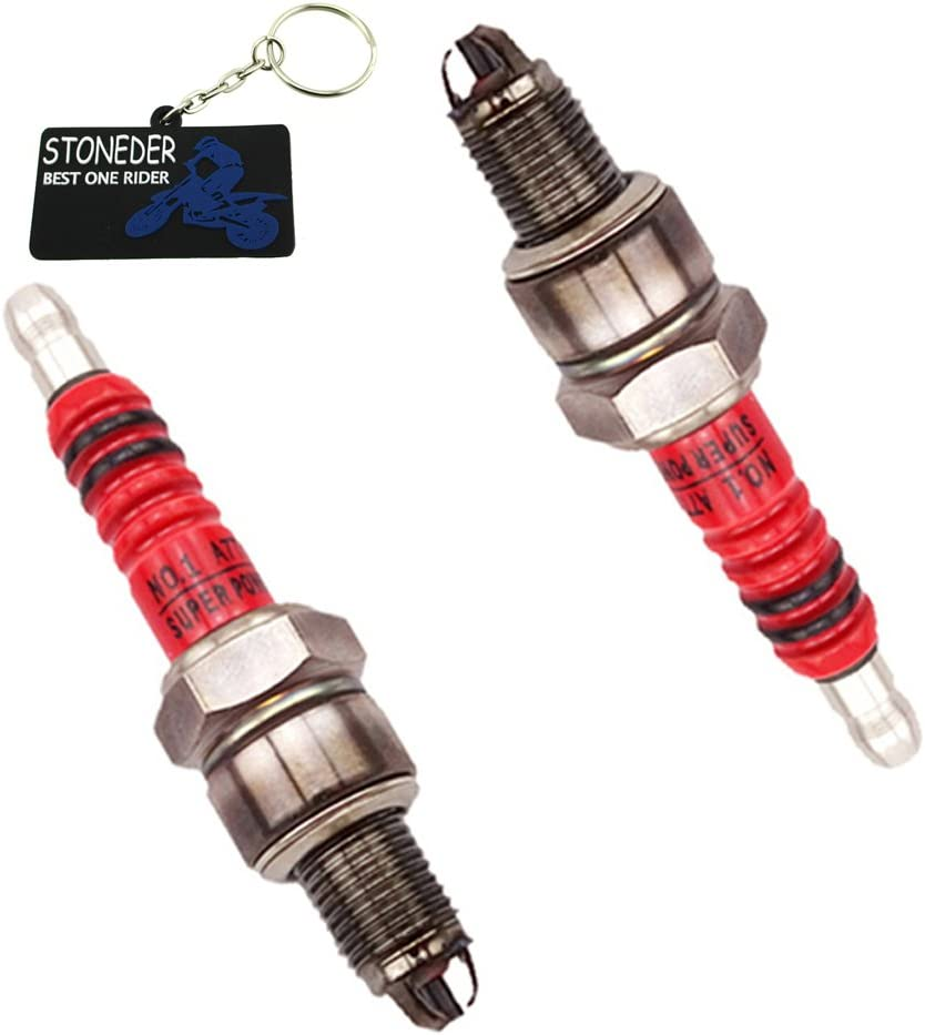 Stoneder Zündkerze 2 Stück 3 Elektroden Rot A7tc 50 90 110 125 Cc Pit Dirt Bike Atv Scooter Auto