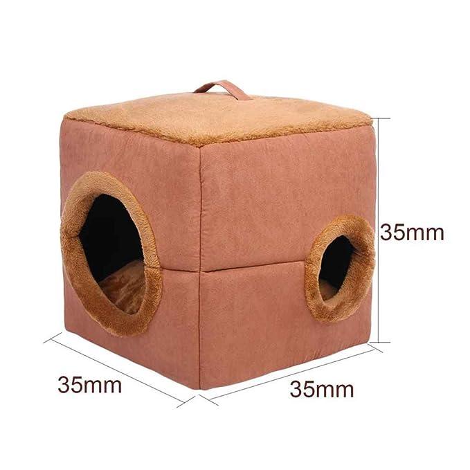 shangjunol Cubo en Forma de Gato Cama del Perro de Felpa de algodón PP a Prueba de Viento Caliente Suave casa del Animal doméstico Dormir Bolsas de café: ...