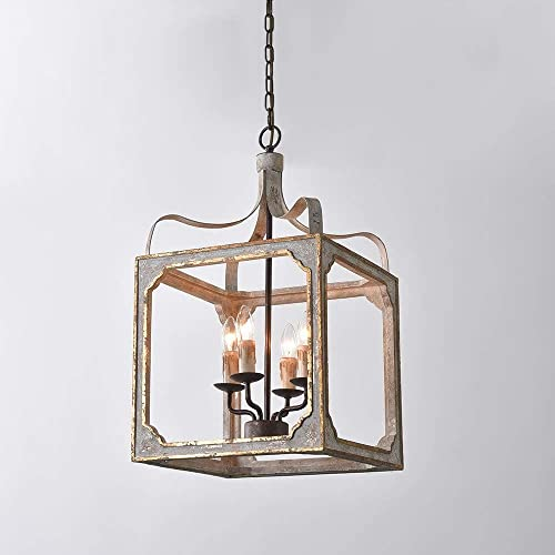 JiuZhuo French Country Rustic 4-Light Square Lantern Farmhouse Chandelier Lighting Hanging Ceiling Fixture Metal and Wood