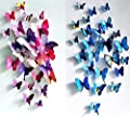 Simoshaw 12 pcs Purple + 12 pcs Blue 3D Butterfly Stickers Random Mixed Packing Home Decoration DIY Removable 3D Vivid Special Man-made Lively Butterfly Art DIY Decor Wall Stickers for Wall Decor Kids Room Bedroom Living Room