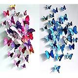 24PCS 3D Butterfly Wall Stickers Decor Art Decorations