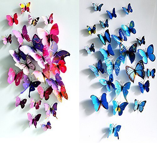 Butterfly Clings (Simoshaw 12 pcs Purple + 12 pcs Blue 3D Butterfly Stickers Random Mixed Packing Home Decoration DIY Removable 3D Vivid Special Man-made Lively Butterfly Art DIY Decor Wall Stickers for Wall Decor Kids Room Bedroom Living Room)