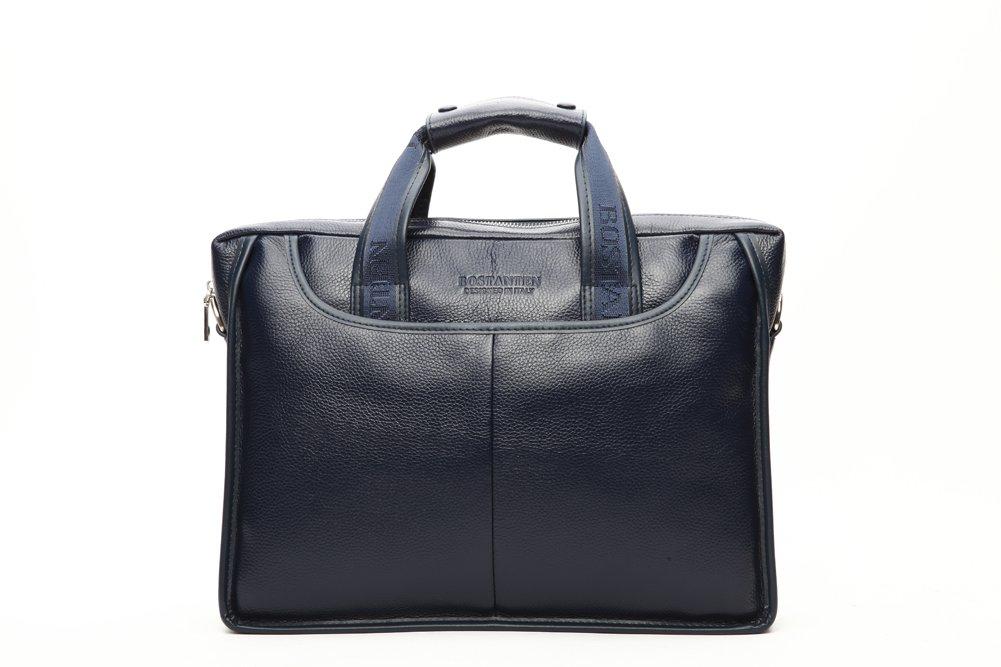 Bostanten® 本革牛皮カウレザー100% シンプル編み込みトートバッグ 2WAY 手提げ サラリーマン通勤バッグ 旅行バッグ 出張用バッグ (ブルー) B013SU6BPQ  ブルー