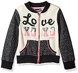 xoxo clothing - XOXO Toddler Girls' Fleece Bomber Jacket, Black Heather, 2T