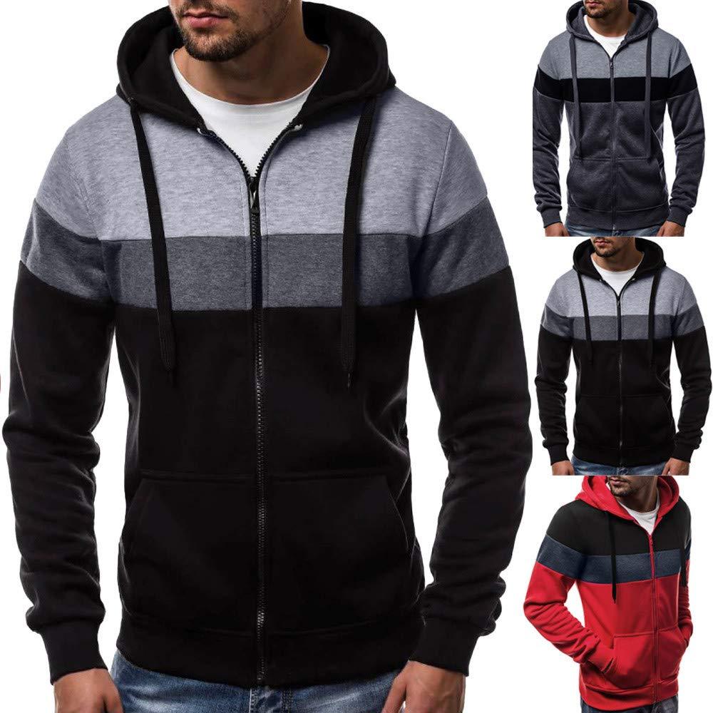 DICPOLIA Mens Jacket Warm Sweater Slim Big Pocket Hoodie Hooded Sweatshirt Outwear Coat,Mens Long Sleeve Autumn Winter Patchwork Zipper Hoodies Top Blouse ...