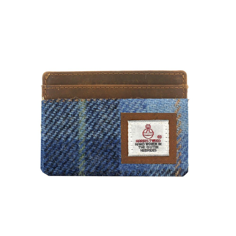 Harris Tweed Pale Blue Castle Bay Tartan Card Holder Mag Mouch Sophos