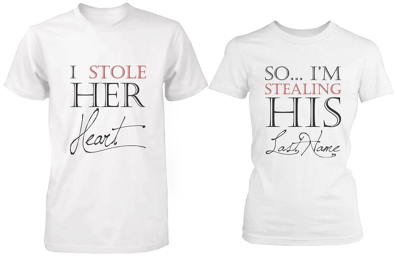 she stole my heart, im stealing his last name, engagement shirts, bridal gift shirts, matching shirts, couples shirts, honeymoon shirts
