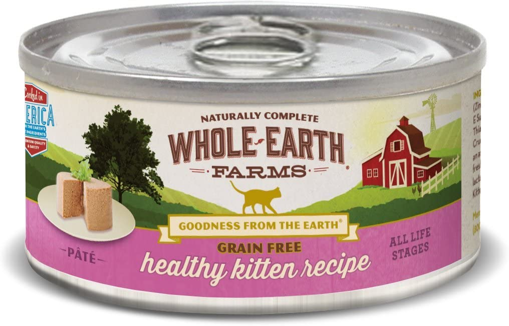 Whole Earth Farms 24 Case Grain Free Real Healthy Kitten Recipe, 5 Oz