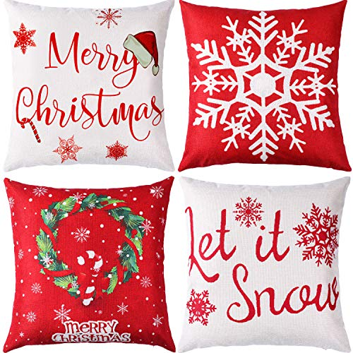 Jetec 4 Pieces Pillow Case Throw Cushion Cover Cotton Linen Pillow Decorations for Halloween Thanksgiving Christmas Autumn, 18 by 18 inch (Color Set 19)