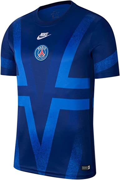 Amazon Com Nike Psg Dry S S Training Top Blue White 2019 2020 Clothing