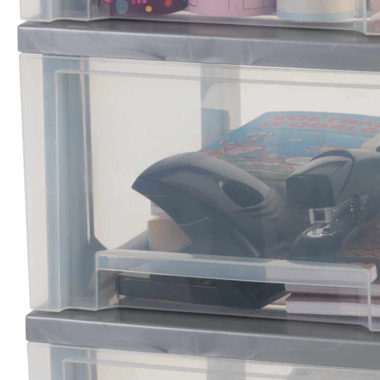 29 x 39 x 62 smart cassetto torace nero // trasparente 48 L plastica Iris Ohyama torre stoccaggio su ruote 3 cassetti DSC-303