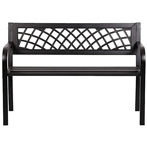 400 Lbs 50″ Sturdy Comfortable Garden Bench Patio Outdoor Porch Chair Patio Park Seat Backrest Steel Frame Endurance 2 Seat Loveseat Deck Ideal